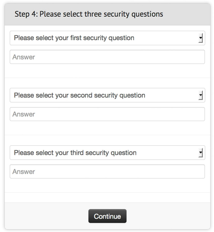 Select Security Questions