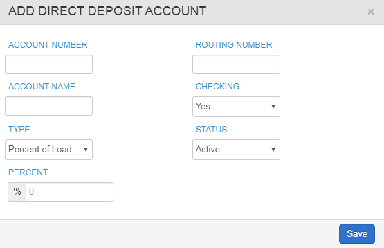 add direct deposit account window