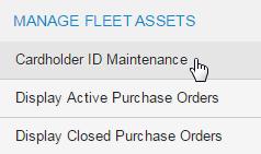 Select cardholder ID maintenance