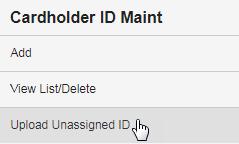 select upload unassigned ID