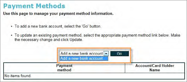 Select Add New Bank Account