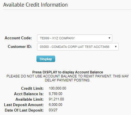 available credit info page credit displayed