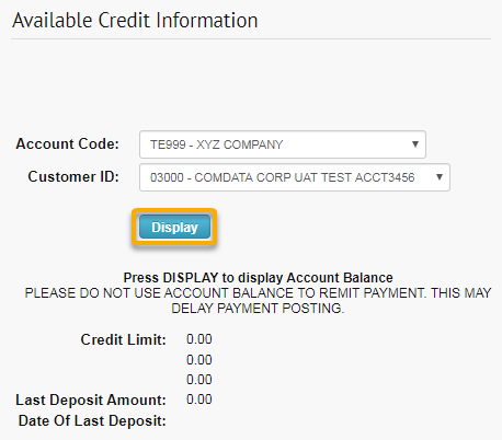 available credit information page click display