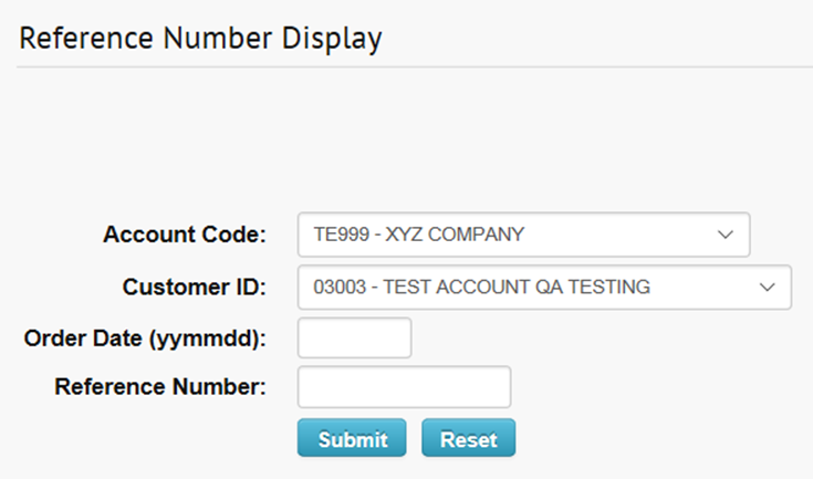 Reference Number Display